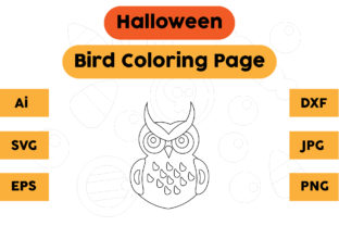 Halloween Coloring Page - Bird 01 Graphic Coloring Pages & Books Kids By isalsemarang