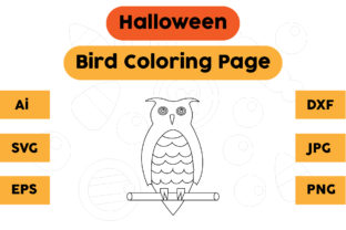 Halloween Coloring Page - Bird 02 Graphic Coloring Pages & Books Kids By isalsemarang