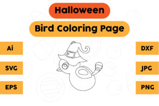 Halloween Coloring Page - Bird 03 Graphic Coloring Pages & Books Kids By isalsemarang