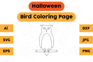 Halloween Coloring Page - Bird 04 Graphic Coloring Pages & Books Kids By isalsemarang