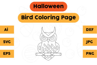 Halloween Coloring Page - Bird 05 Graphic Coloring Pages & Books Kids By isalsemarang