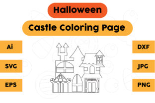 Halloween Coloring Page - Castle 01 Graphic Coloring Pages & Books Kids By isalsemarang