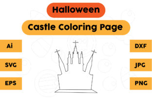 Halloween Coloring Page - Castle 02 Graphic Coloring Pages & Books Kids By isalsemarang