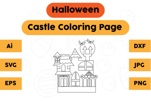Halloween Coloring Page - Castle 03 Graphic Coloring Pages & Books Kids By isalsemarang