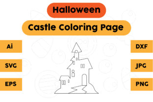 Halloween Coloring Page - Castle 04 Graphic Coloring Pages & Books Kids By isalsemarang
