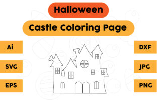 Halloween Coloring Page - Castle 05 Graphic Coloring Pages & Books Kids By isalsemarang