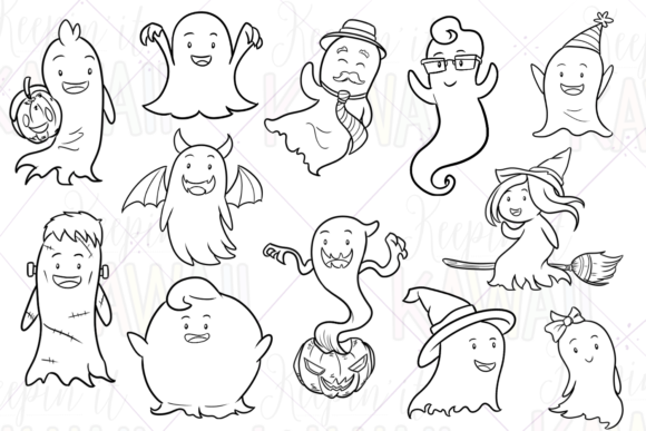 Print on Demand: Halloween Ghosts Digital Stamps Graphic Illustrations By Keepinitkawaiidesign