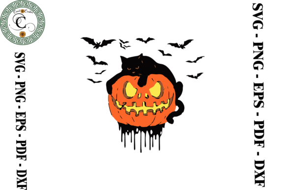 Print on Demand: Halloween Black Cat Vector Clipart Graphic Print Templates By Cricut Creation