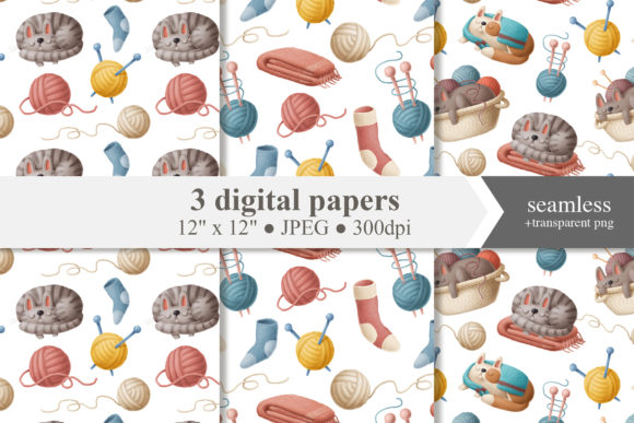 Print on Demand: Knitting and Cats Digital Papers Set Graphic Illustrations By Architekt_AT