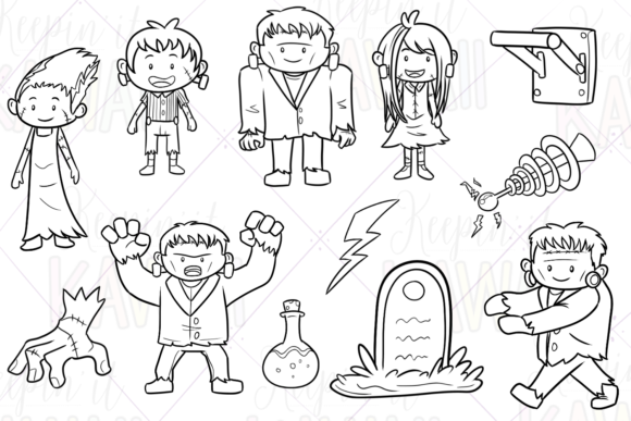 Print on Demand: Monster Family Halloween Digital Stamps Graphic Illustrations By Keepinitkawaiidesign