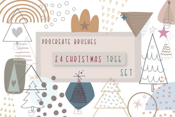 Print on Demand: Procreate Brushes 54 Christmas Tree Set Graphic Brushes By Pui Pui