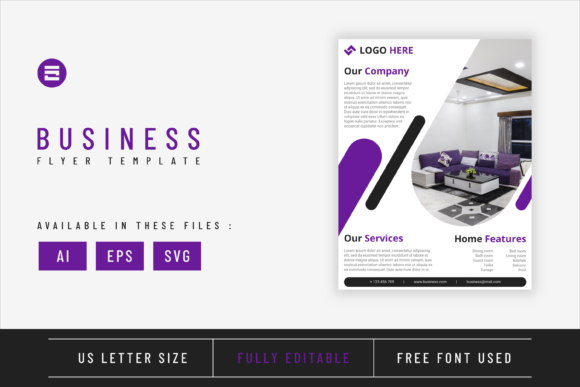 Real Estate Flyer Template Purple Colour Graphic Print Templates By Saidi Creative