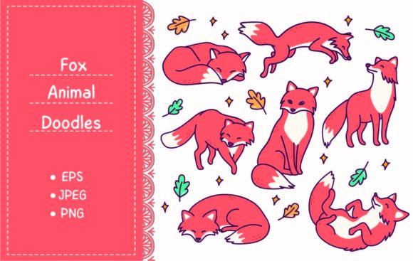 Set of Fox in Different Poses Doodle Graphic Illustrations By Big Barn Doodles
