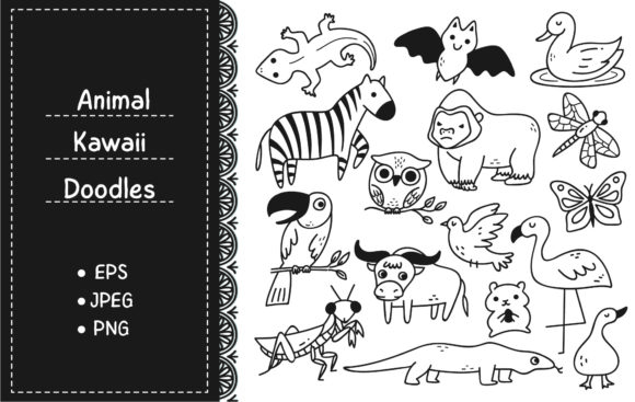 Set of Animals Doodle Graphic Illustrations By Big Barn Doodles