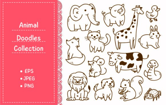 Set of Animals Doodle Isolated on White Graphic Illustrations By Big Barn Doodles