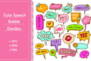 Set of Cute Speech Bubble in Doodle Styl Graphic Illustrations By Big Barn Doodles