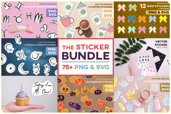 Print on Demand: Sticker Bundle Set Sublimation Labels Graphic Illustrations By Inkclouddesign