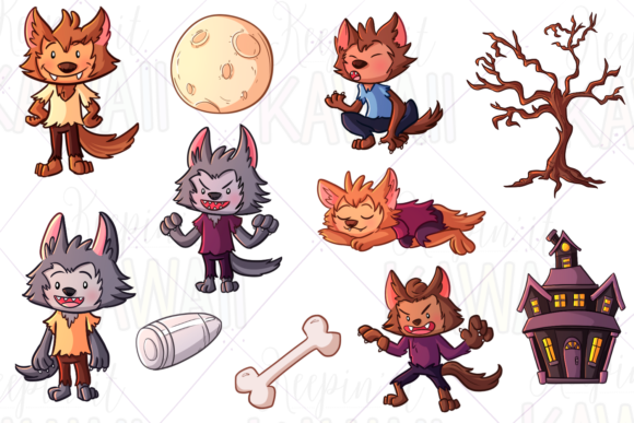 Print on Demand: Werewolf Boys Clip Art Collection Graphic Illustrations By Keepinitkawaiidesign