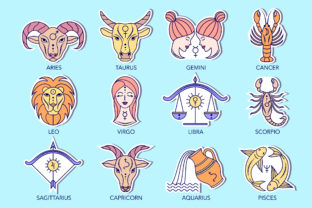 Zodiac Signs Stickers Graphic Illustrations By fatamorganaoptic