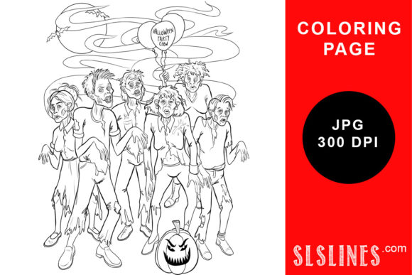 Print on Demand: Zombie Party Coloring Page Graphic Coloring Pages & Books Adults By SLS Lines