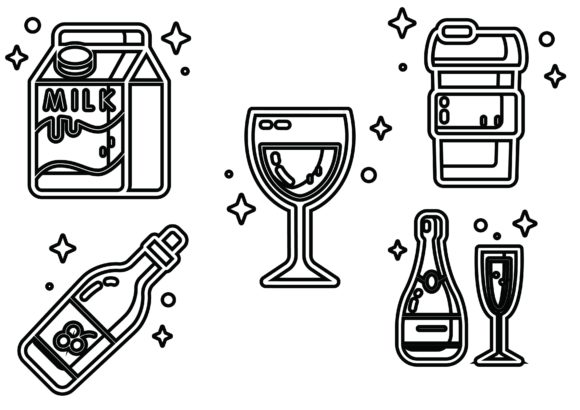 Beverages Black Graphic Icons By ssiimpti73