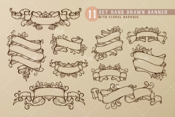 11 Set Hand Drawn Baroque Banner Graphic Illustrations By AllmoStudio