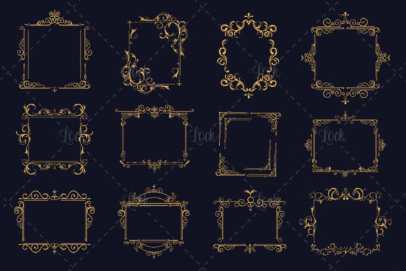 12 Variant Vintage Frame Graphic Backgrounds By AllmoStudio