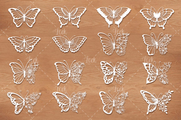 16 Butterflies SVG Files for Silhouette Graphic Crafts By AllmoStudio