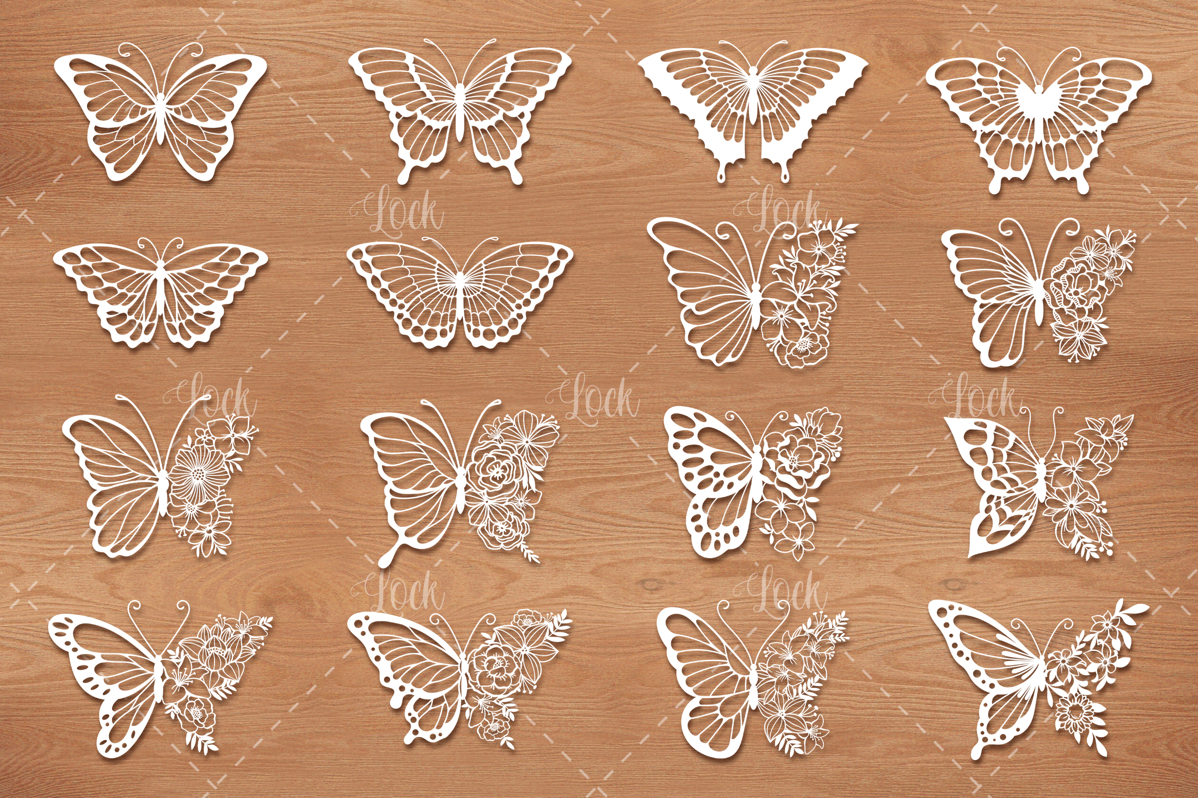 16 Butterflies SVG Files for Silhouette SVG File