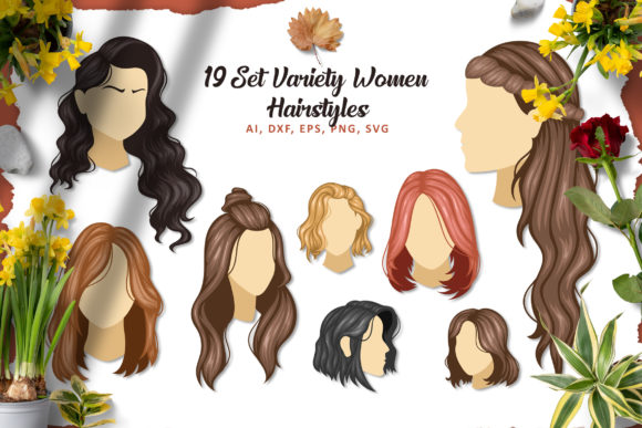 19 Set Vector Hair Stylish SVG EPS PNG Graphic Illustrations By AllmoStudio