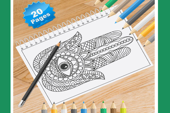 Print on Demand: 20 Hamsa Coloring Pages Graphic Coloring Pages & Books By Coloring World