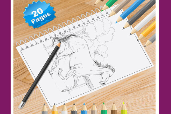 Print on Demand: 20 Horse Coloring Pages Graphic Coloring Pages & Books By Coloring World