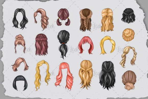 20 Set Vector Hair Stylish SVG EPS PNG Graphic Illustrations By AllmoStudio
