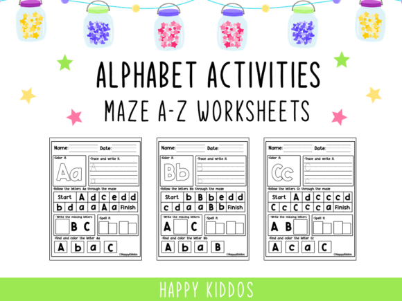 Alphabet Activities: Maze a-Z Worksheets Graphic K By Happy Kiddos
