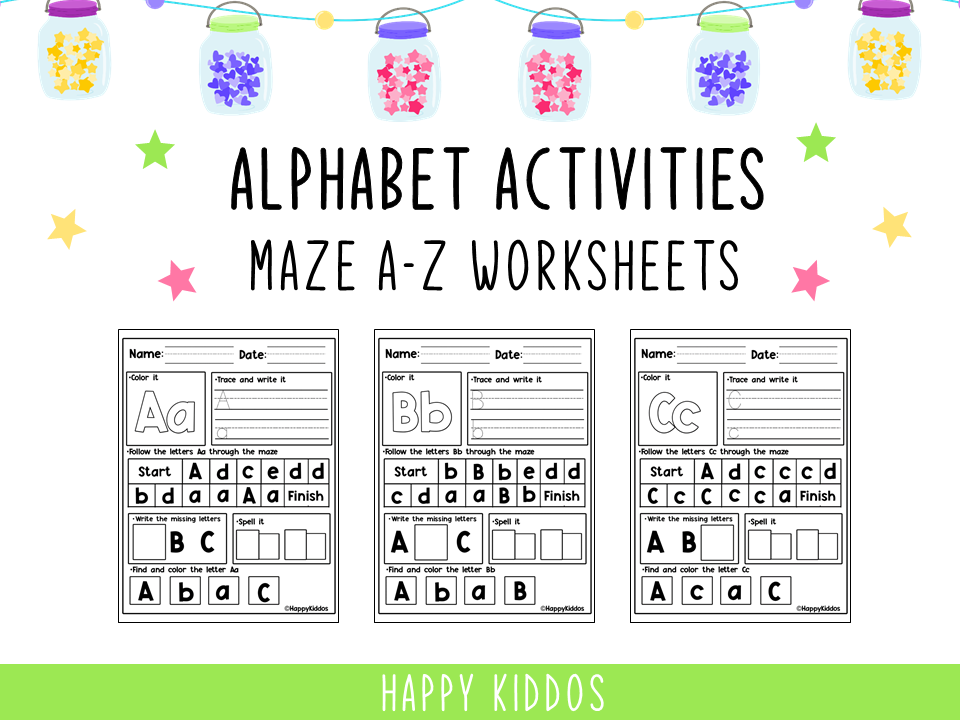 Alphabet Activities: Maze A-Z Worksheets (Graphic) By Happy Kiddos ·  Creative Fabrica