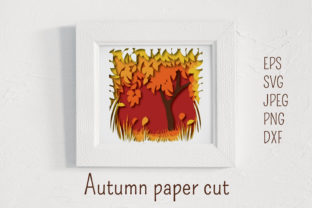 Autumn Paper Cut Landscape Graphic 3D Shadow Box By inkoly.art