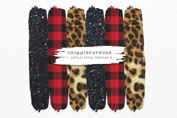 Black Glitter, Leopard, Red Plaid Graphic Crafts By Chonnieartwork