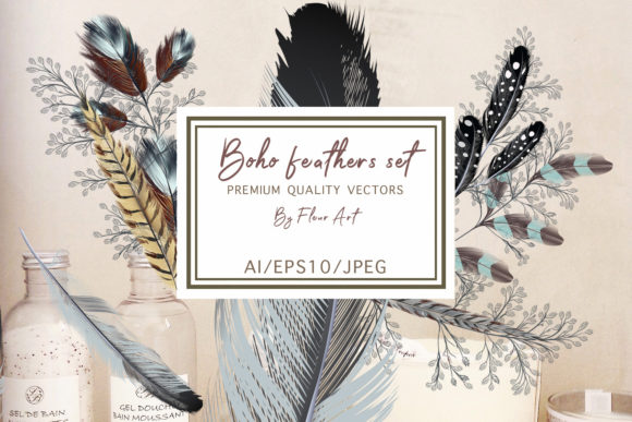 Bohemian Mood Feathers Set Graphic Illustrations By fleurartmariia