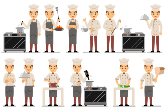 Chef Profession Characters Vector Set Graphic Illustrations By medzcreative