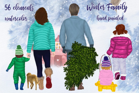 Christmas Clipart Winter Family Clipart Graphic