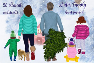 Print on Demand: Christmas Clipart Winter Family Clipart Graphic Illustrations By LeCoqDesign