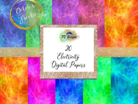Print on Demand: Electricity Digital Paper Graphic Backgrounds By TE Designs