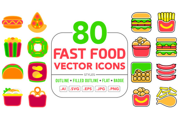 Fast Food Vector Icons Graphic Illustrations By medzcreative