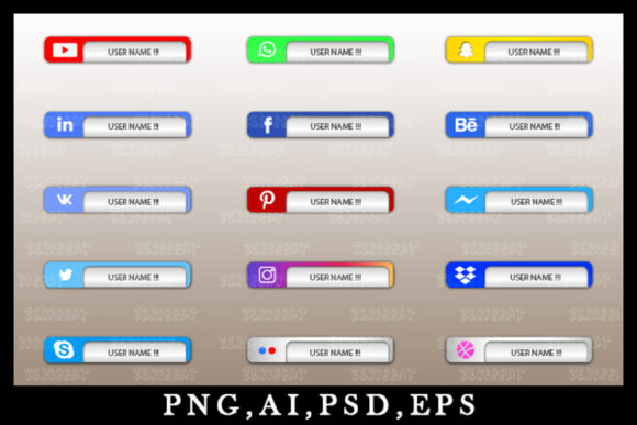 Print on Demand: Graphic Social Media Icon Bar Link Web 6 Graphic Websites By zerobbat