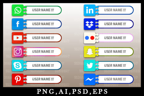Print on Demand: Graphic Social Media Icon Bar Link Web 9 Graphic Websites By zerobbat