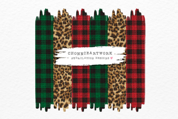 Green Plaid, Leopard, Red Plaid Graphic Crafts By Chonnieartwork