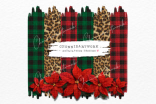 Print on Demand: Green Plaid, Leopard, Red Background Graphic Crafts By Chonnieartwork