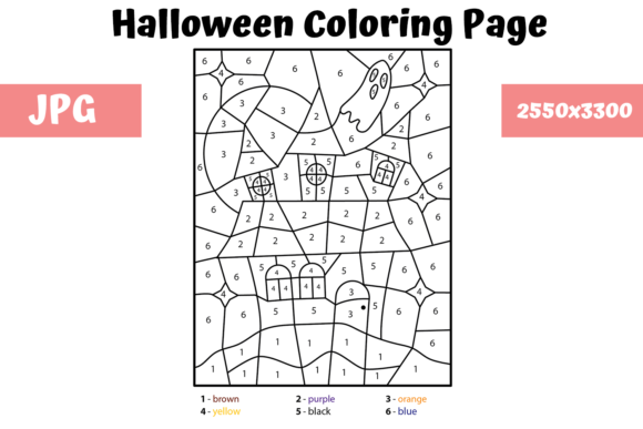 Print on Demand: Halloween Color by Number 1 Graphic Coloring Pages & Books Kids By MyBeautifulFiles