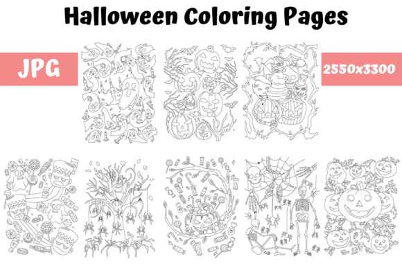 Halloween Coloring Pages Bundle Graphic By MyBeautifulFiles · Creative  Fabrica