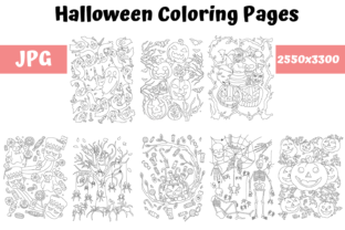 Print on Demand: Halloween Coloring Pages Bundle Graphic Coloring Pages & Books Kids By MyBeautifulFiles